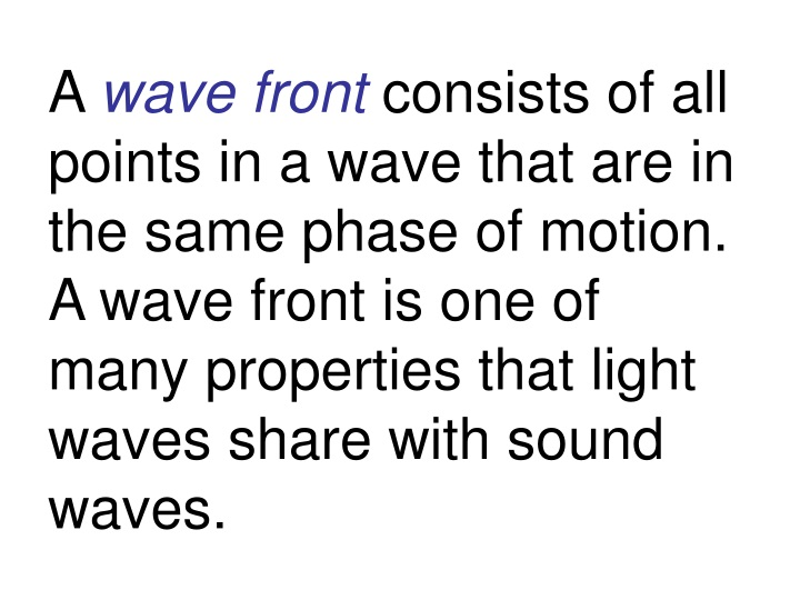 a wave front consists of all points in a wave n.