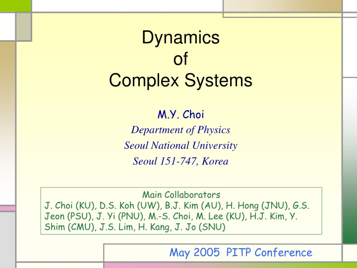 dynamics of complex systems n.