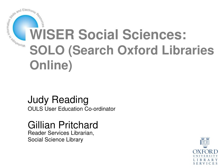wiser social sciences solo search oxford libraries online n.