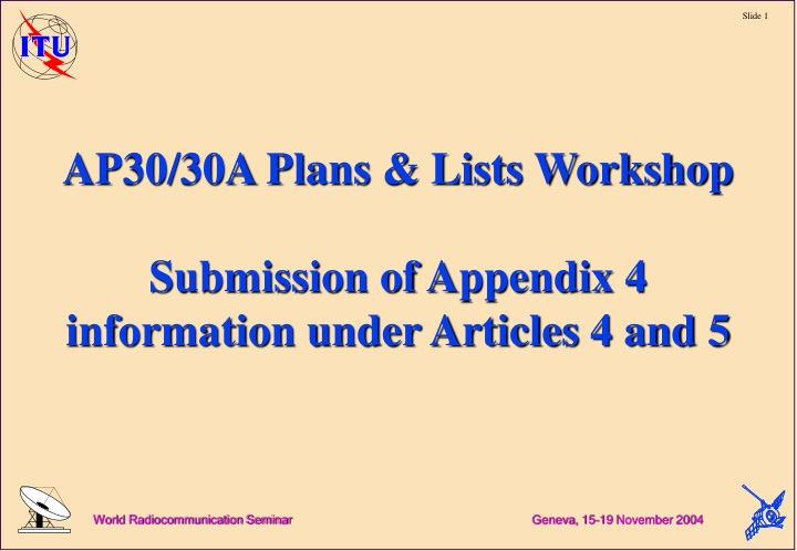 ap30 30a plans lists workshop submission of appendix 4 information under articles 4 and 5 n.
