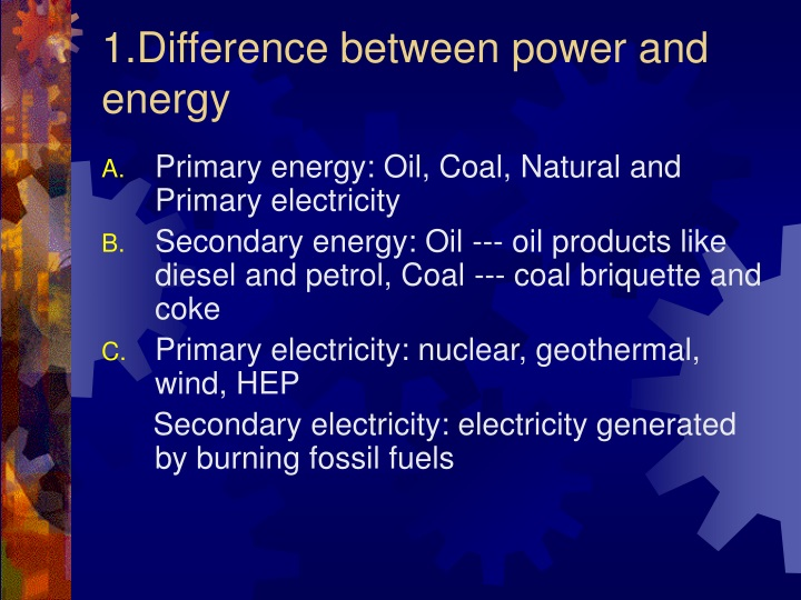 1 difference between power and energy n.