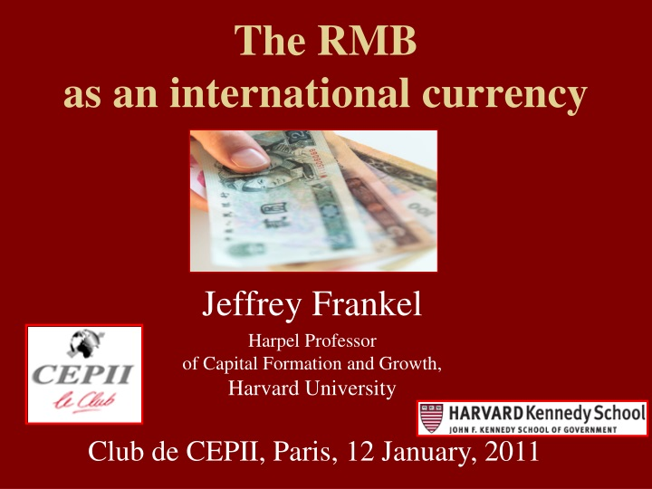 the rmb as an international currency n.