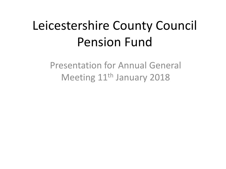 leicestershire county council pension fund n.