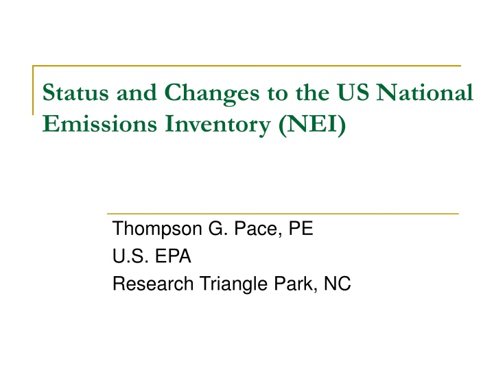 status and changes to the us national emissions inventory nei n.