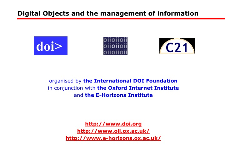 digital objects and the management of information n.