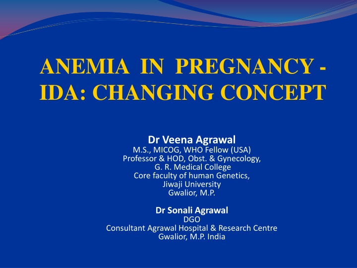 anemia in pregnancy ida changing concept n.