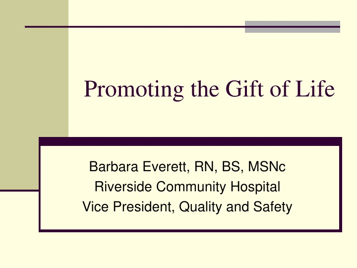 promoting the gift of life n.