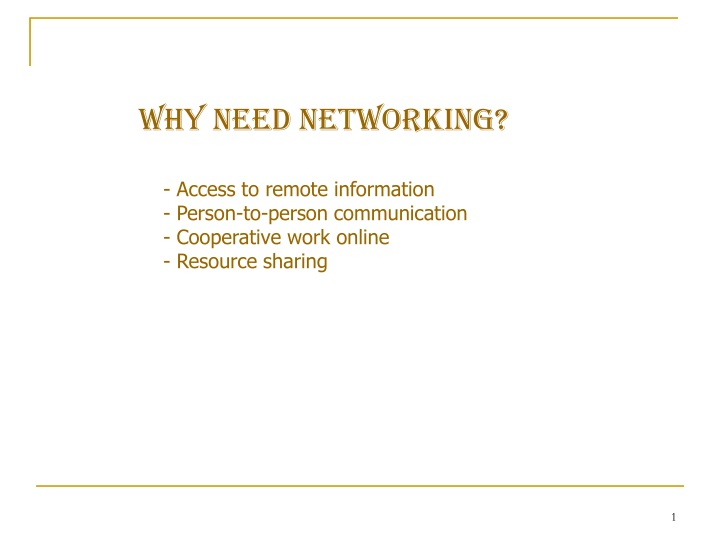why need networking n.