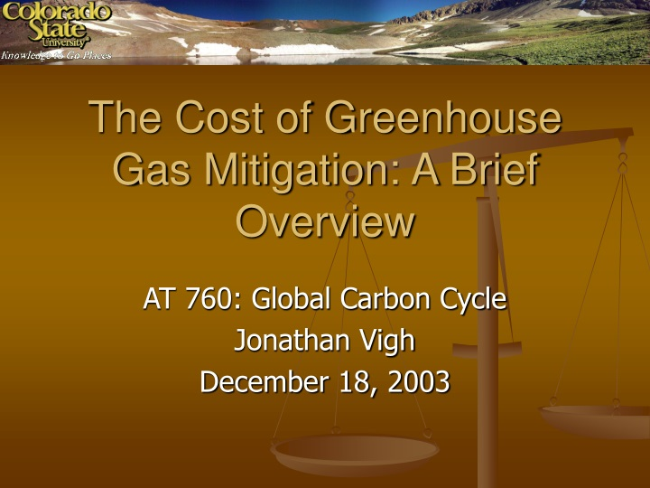 the cost of greenhouse gas mitigation a brief overview n.