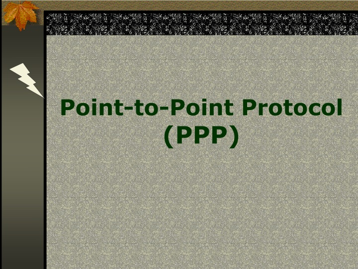 point to point protocol ppp n.