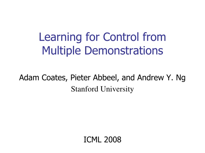 learning for control from multiple demonstrations n.