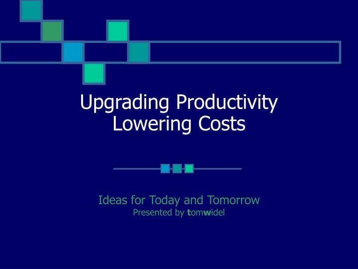 upgrading productivity lowering costs n.
