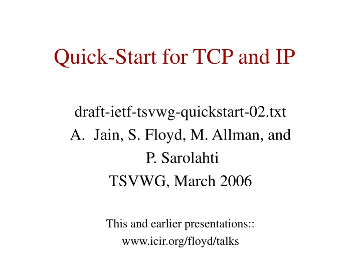 quick start for tcp and ip n.