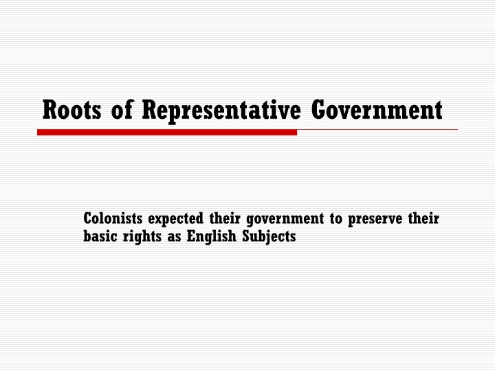 roots of representative government n.