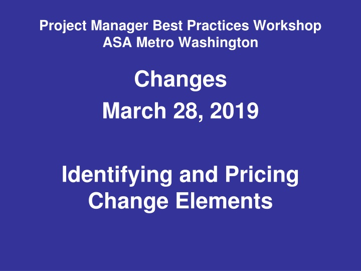 project manager best practices workshop asa metro washington n.