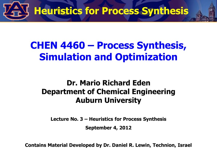 heuristics for process synthesis n.