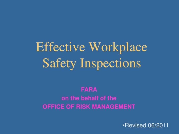 effective workplace safety inspections n.