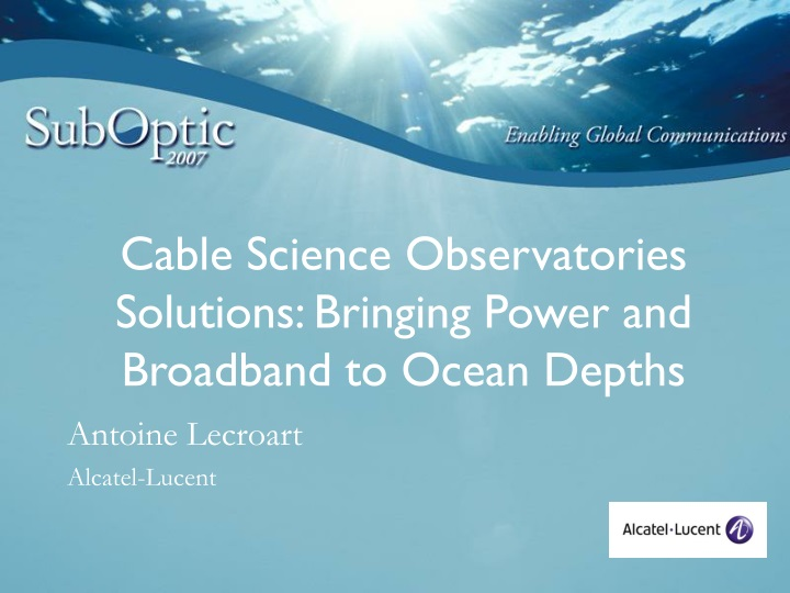 cable science observatories solutions bringing power and broadband to ocean depths n.