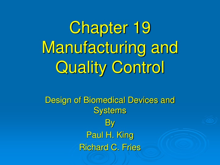 chapter 19 manufacturing and quality control n.