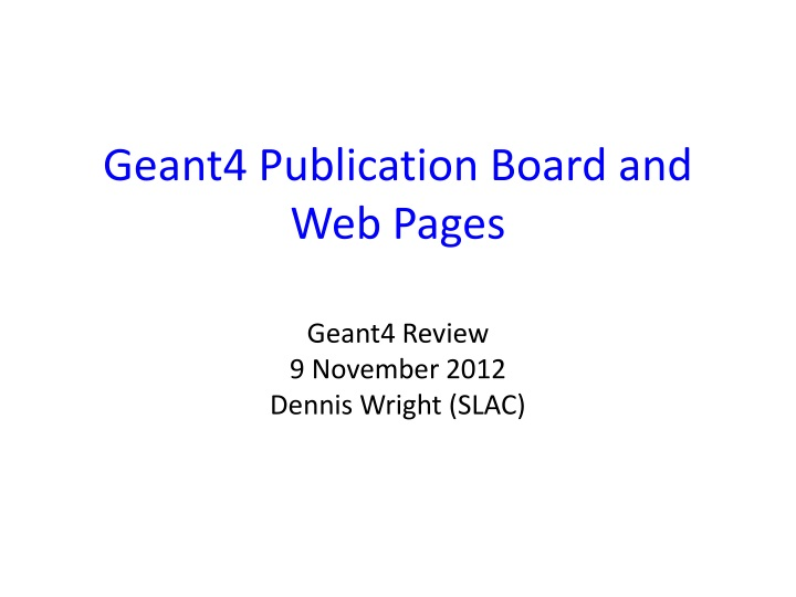 geant4 publication board and web pages n.