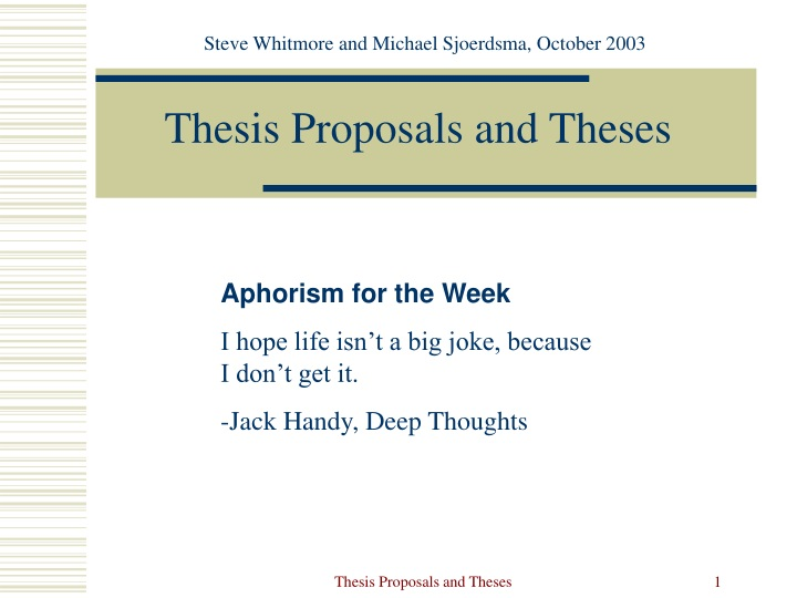 thesis proposals and theses n.