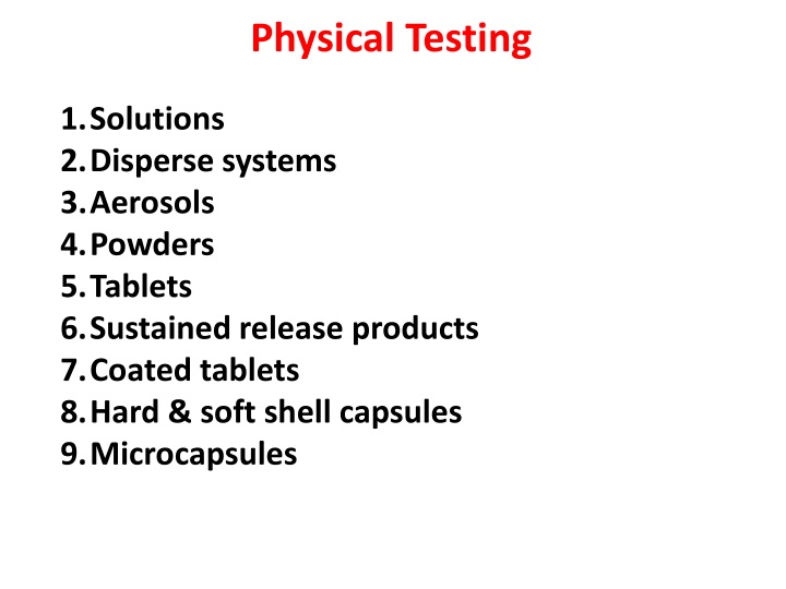physical testing n.