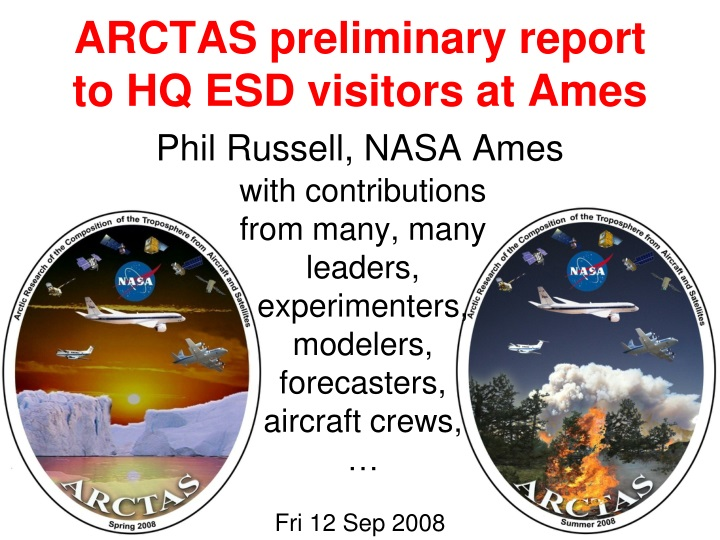 arctas preliminary report to hq esd visitors at ames n.