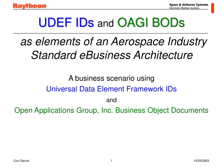 udef ids and oagi bods as elements of an aerospace industry standard ebusiness architecture n.