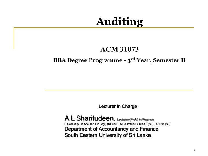 auditing acm 31073 bba degree programme 3 rd year n.