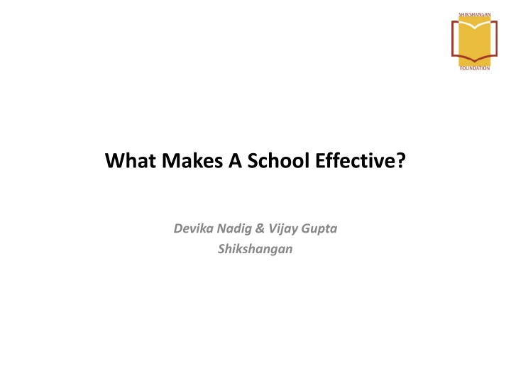 what makes a school effective n.