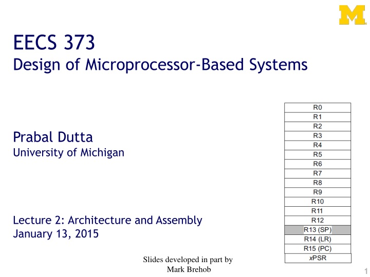 eecs 373 design of microprocessor based systems n.