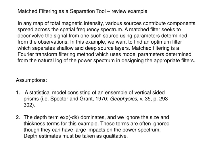 matched filtering as a separation tool review n.