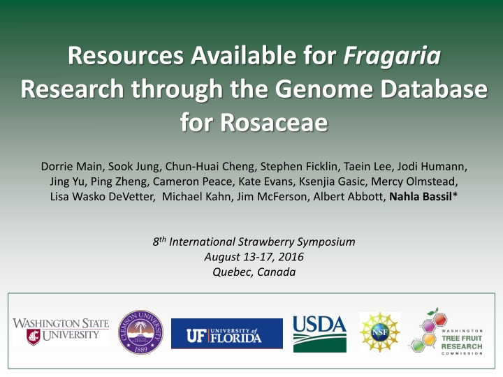 resources available for fragaria research through n.