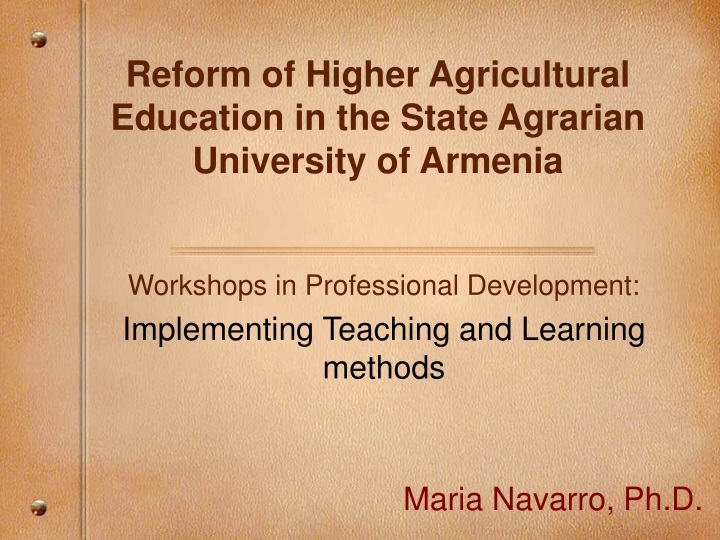 reform of higher agricultural education in the state agrarian university of armenia n.