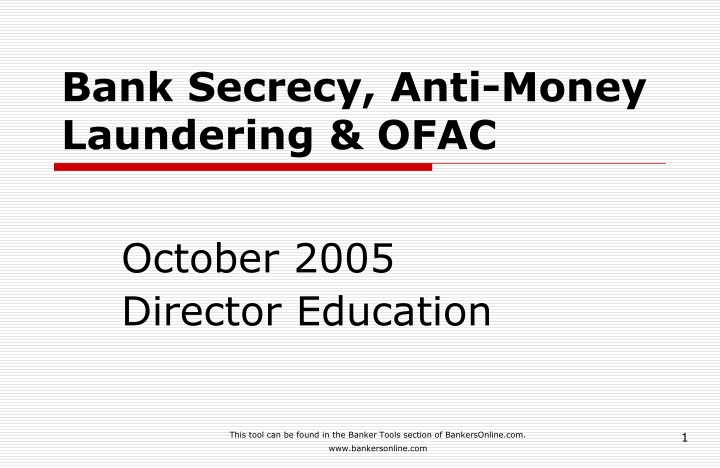 bank secrecy anti money laundering ofac n.