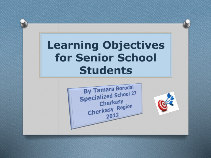 learning objectives for senior school students n.
