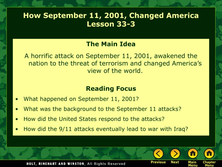 how september 11 2001 changed america lesson 33 3 n.
