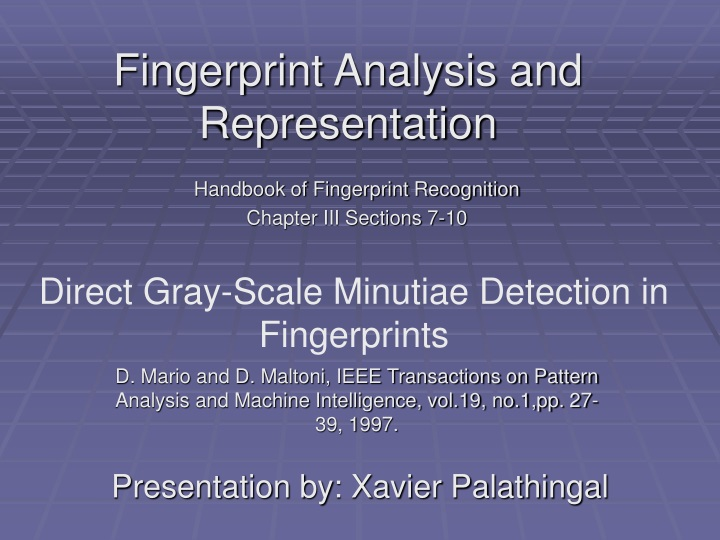 fingerprint analysis and representation n.