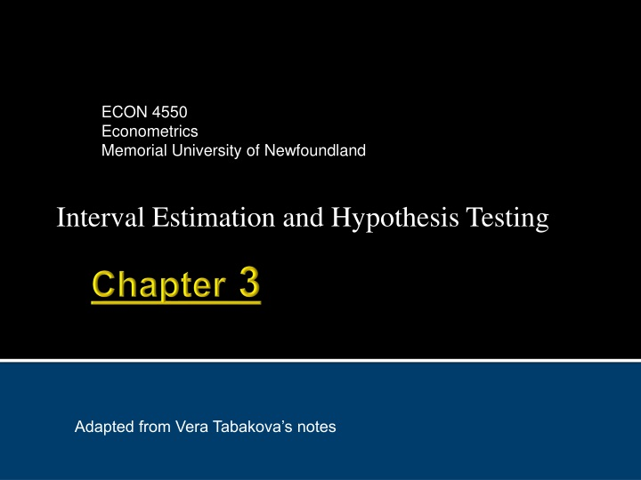 interval estimation and hypothesis testing n.