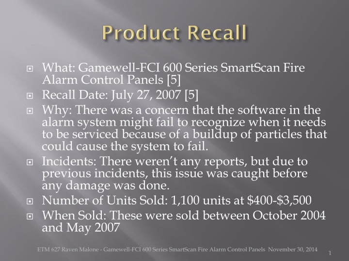 product recall n.