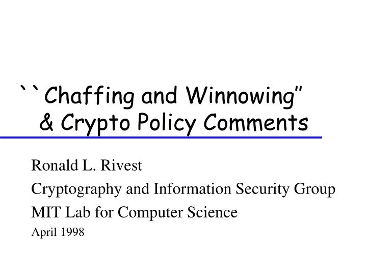 chaffing and winnowing crypto policy comments n.