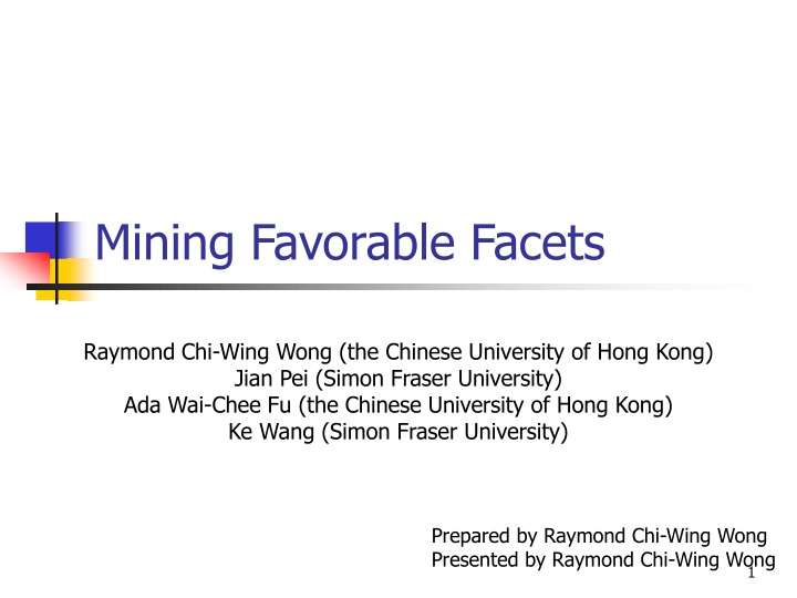 mining favorable facets n.