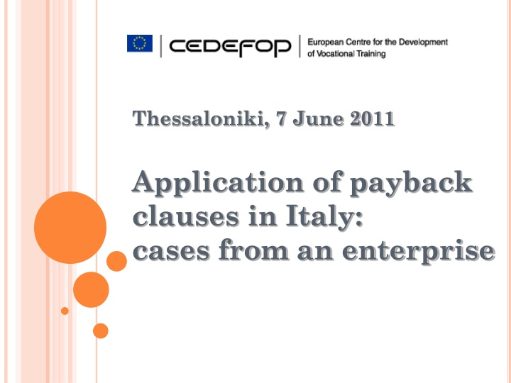 thessaloniki 7 june 2011 application of payback n.