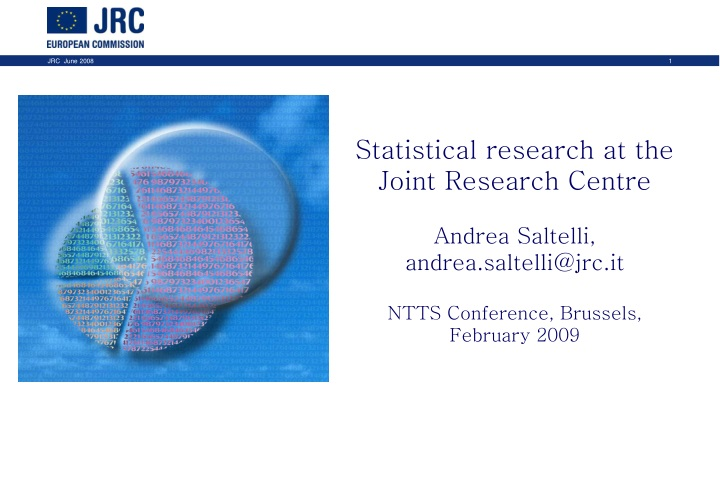 statistical research at the joint research centre n.