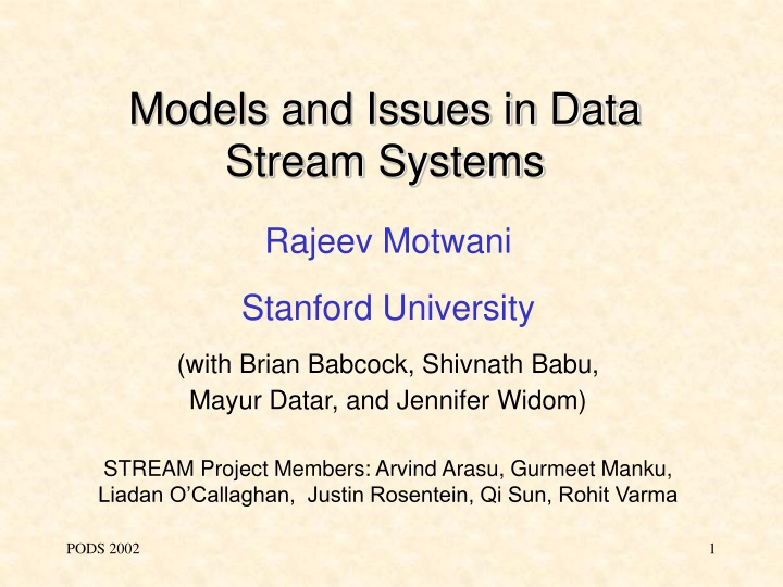 models and issues in data stream systems n.
