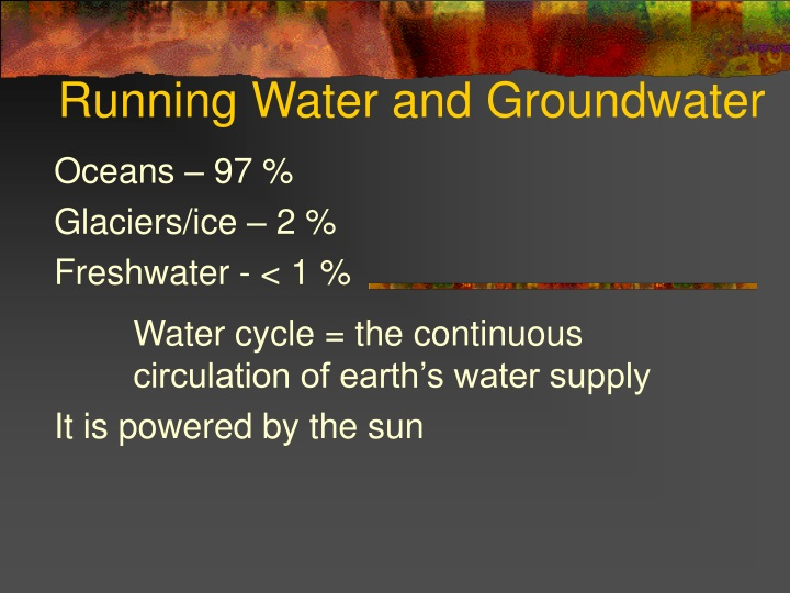 running water and groundwater n.