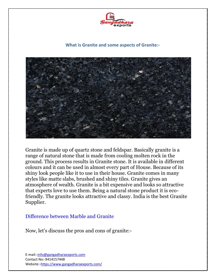 what is granite and some aspects of granite n.