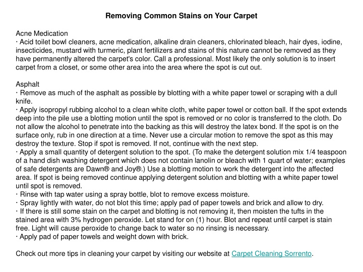 removing common stains on your carpet acne n.