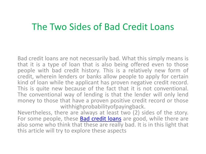 the two sides of bad credit loans n.