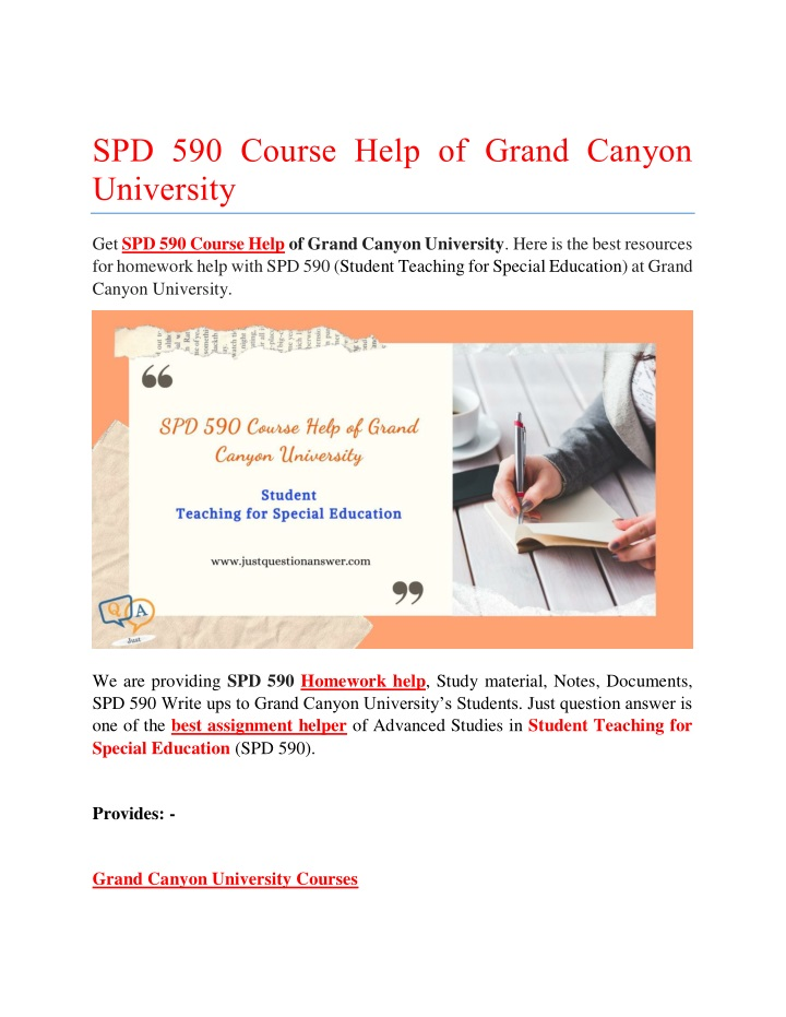 spd 590 course help of grand canyon university n.